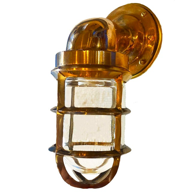 Late 20th Century Solid Bronze Architectural Salvage Starboard Indoor / Outdoor Sconce For Sale - Image 5 of 5