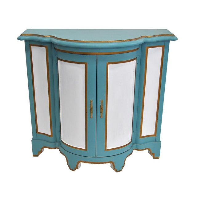 Blue Baker-Style Demilune Cabinet For Sale - Image 8 of 8