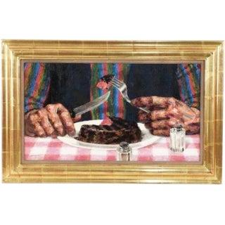 """1970s Vintage Original """"Filet Mignon"""" Oil Painting on Canvas by Joseph Hirsch For Sale"""