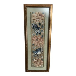 Asian Embroidered Flowers on Silk Art For Sale