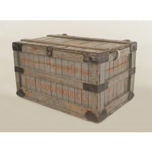 American Country (19th Cent) grey painted slat design floor trunk with wrought iron corners and trim