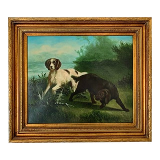 "Late 19th-Early 20th Century ""Hunting Dogs in Landscape"" American School Oil Painting on Canvas Signed For Sale"