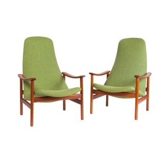 Mid Century Modern Danish Lounge Chair 1960's Alf Svensson for Ljungs Industrier Teak - a Pair