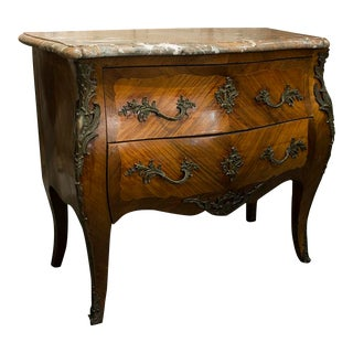 19th Century Marble Top Bombe Chest With Two Drawers and Ormolu Pulls For Sale