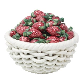 Vintage Ceramic Woven Basket and Figural Strawberries For Sale