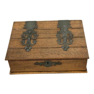 English Box With Oversized Strap Hinges For Sale