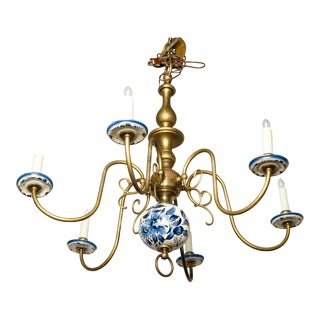 Spectacular Delft and Bronze Chandelier For Sale