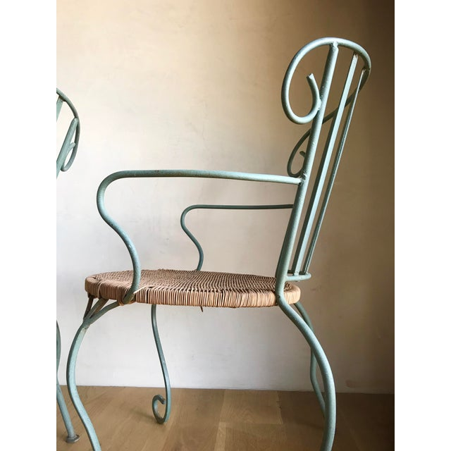 Brown Vintage Verdigris Iron and Woven Rattan Dining or Patio Chairs-Set of Four For Sale - Image 8 of 13