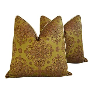Custom Tailored Cohama Hand-Printed Silk Feather/Down Pillows - A Pair For Sale