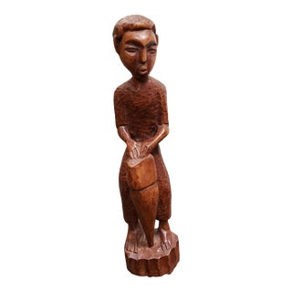 Mid 20th Century Haitian Bongo Drummer Wood Carving For Sale