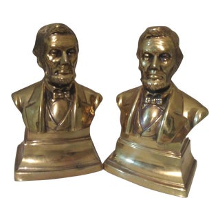 Abraham Lincoln Brass Bust Bookends - a Pair For Sale