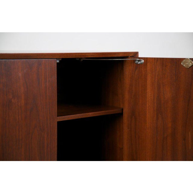 Brown Small Mid-Century Modern Lockable Walnut Cabinet or Mini-Bar or Dry Bar For Sale - Image 8 of 13
