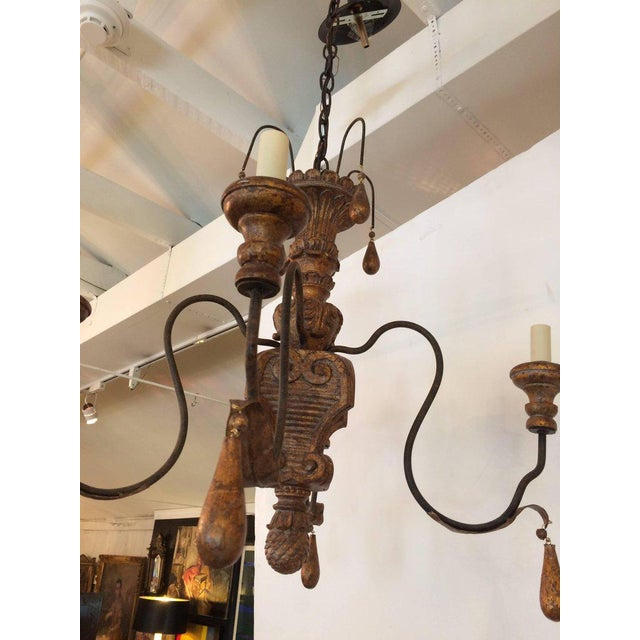 Italian Carved Giltwood and Iron Chandelier For Sale - Image 3 of 3