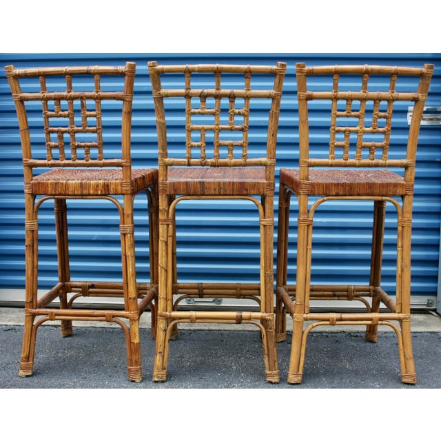 Bamboo Rattan Wicker McGuire-Style Fretwork Bar Stools - Set of 3 For Sale - Image 7 of 11