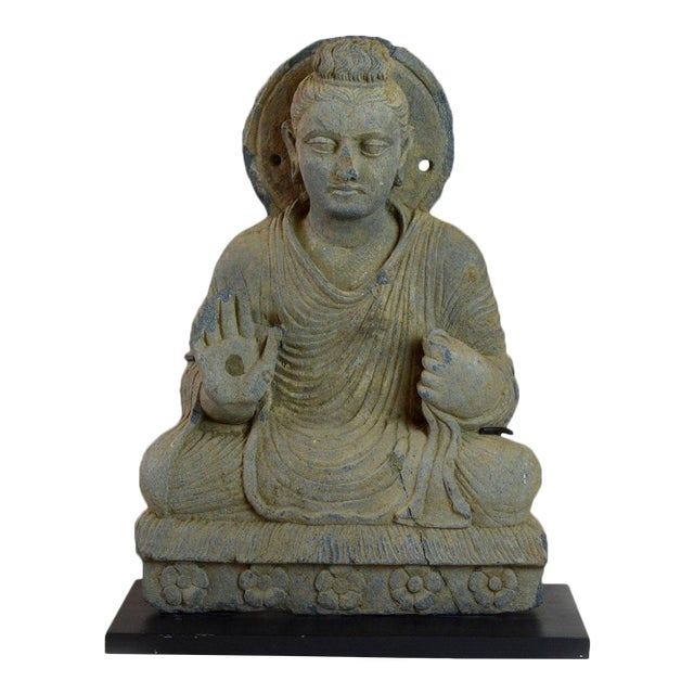 Gandhara Schist Sculpture of the Seated Buddha For Sale