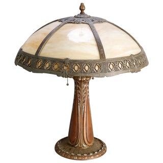 Antique Arts & Crafts Bradley & Hubbard School Slag Glass Panel Lamp, Circa 1910 For Sale