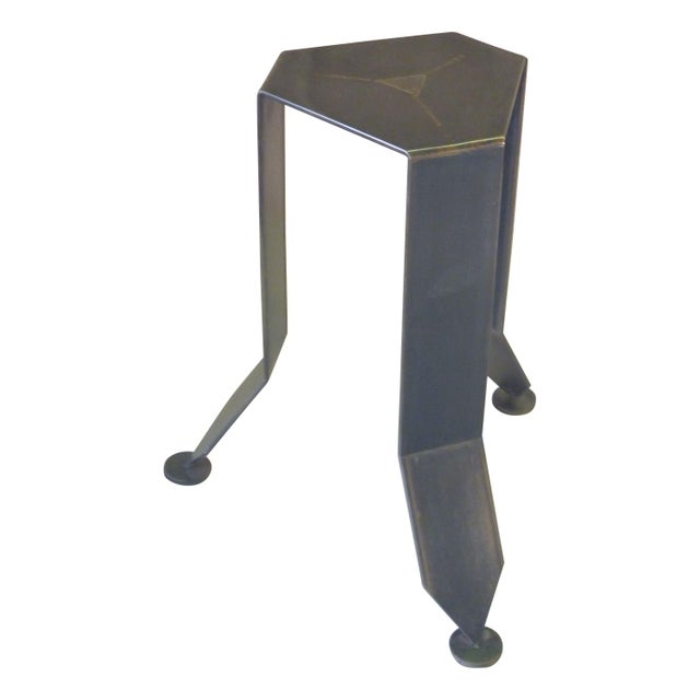 Flower Bronze and Steel Pedestal Stand - Image 1 of 6