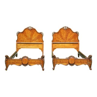 Antique Pair Ornate French Louis XV Rococo Style Burled Walnut Twin Size Beds For Sale