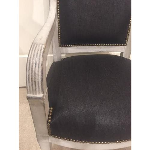 Wood Painted Wood Chair With Black Linen Fabric For Sale - Image 7 of 9