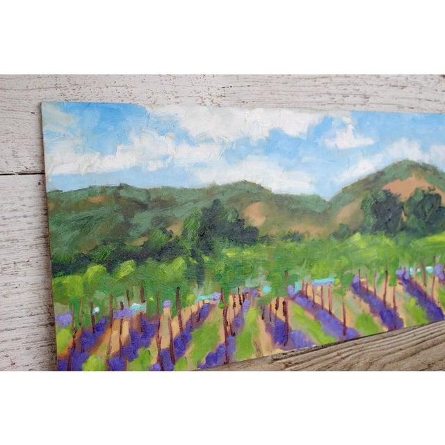 Green Original Oil Painting Landscape Plein Air, Sonoma Vines For Sale - Image 8 of 12