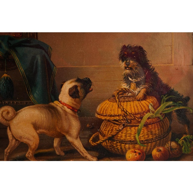 Realism Antique Watercolor Painting of Dogs For Sale - Image 3 of 5