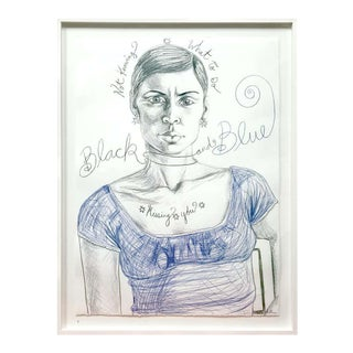 """""""MIssing You"""" """"Black and Blue"""" Drawing by Gillian Lefkowitz For Sale"""