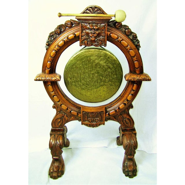 French Provincial Early 19th Century French Provincial Dinner Gong, Large, Heavily Carved Oak and Brass For Sale - Image 3 of 8