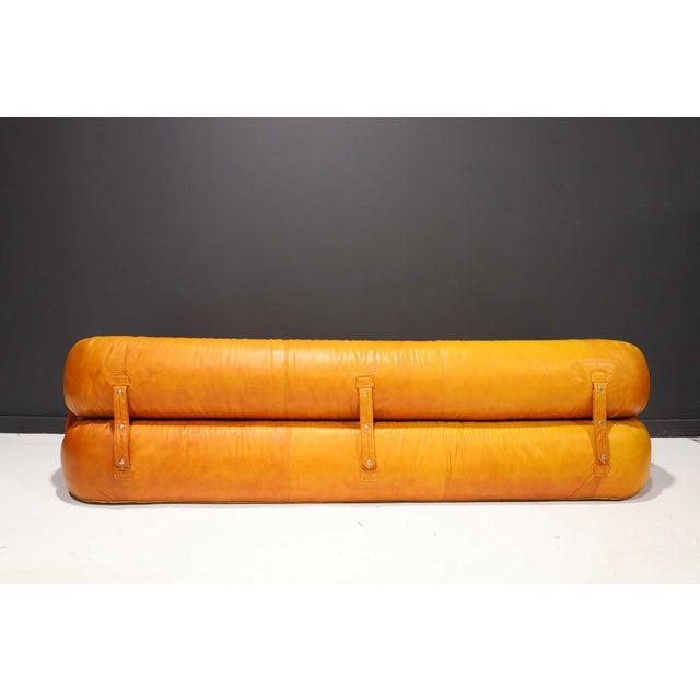 """Anfibio"" sofa bed designed by Alessandro Becchi for Giovannetti Collezioni in 1970s in original leather. The sofa can be..."