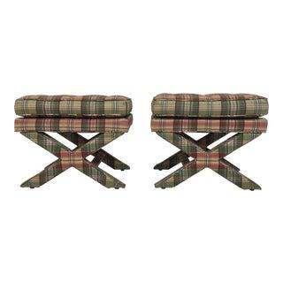 Mid-Century Billy Baldwin-Style Silk Upholstered X-Leg Stools - A Pair