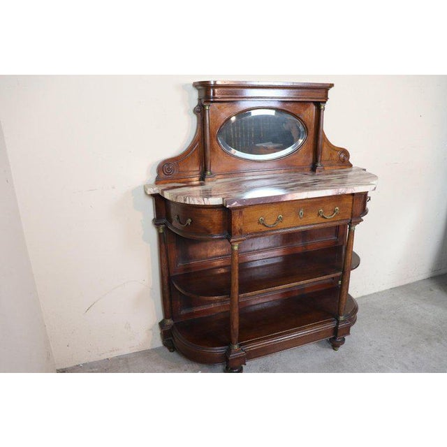 20th Century Italian Empire Style Oak Console Table With Columns and Marble Top For Sale - Image 6 of 12