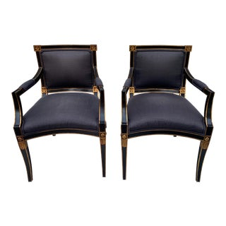 Pair of French Neo-Classical Style Arm Chairs by Trouvailles Furn. Inc. For Sale