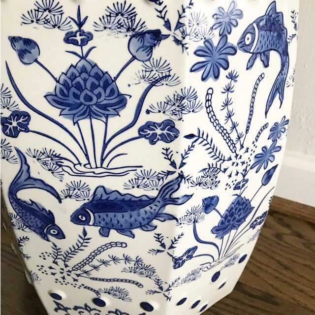 Chinese Koi Fish Blue & White Garden Stool - Image 2 of 4