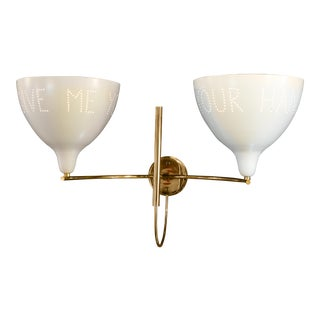 """""""Give Me Your Hands"""" Brass and White / Ivory Metal Wall Sconce For Sale"""