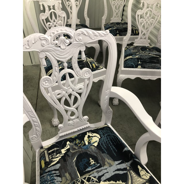2000 - 2009 Modern Lacquered Chippendale Chairs- Set of 6 For Sale - Image 5 of 11