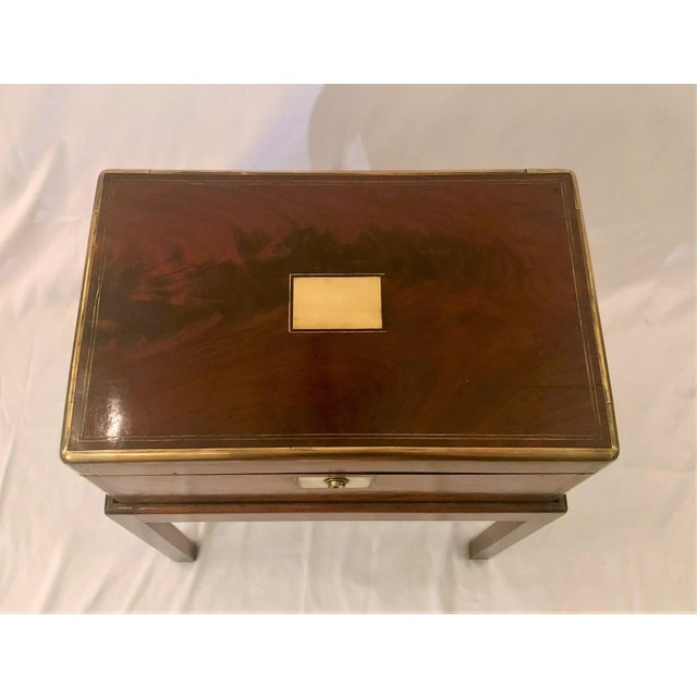 Mid 19th Century Antique English Mid 19th Century Mahogany Writing Box on Stand. For Sale - Image 5 of 6