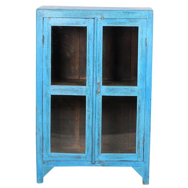 Sky Blue Glass Paneled Cabinet - Image 1 of 5