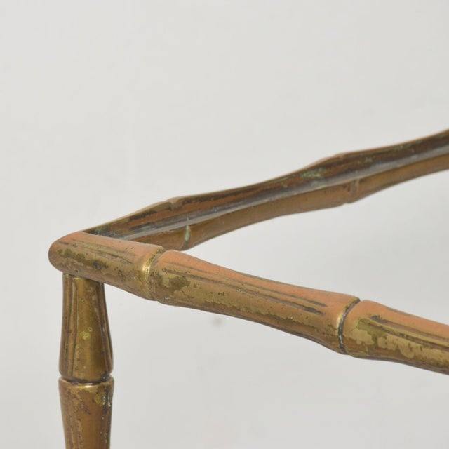 Metal Custom Hollywood Faux Bamboo Brass Side Table by Arturo Pani For Sale - Image 7 of 9