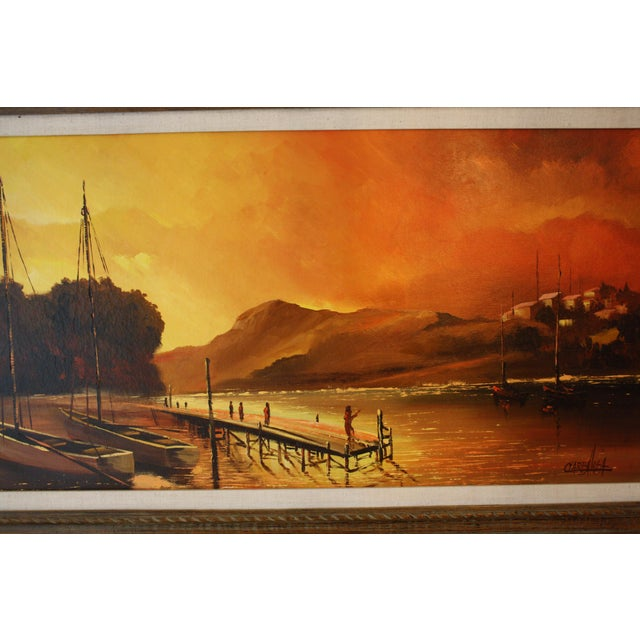 1970s 1970s Vintage Julio Carballosa Original Oil on Canvas Landscape Painting For Sale - Image 5 of 11