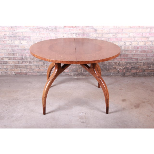 Wood Harold Schwartz for Romweber Mid-Century Modern Spider Leg Extension Dining Table, Newly Restored For Sale - Image 7 of 13