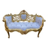 Image of French Louis XVI Style Sofa in Ivory Color Velvet For Sale