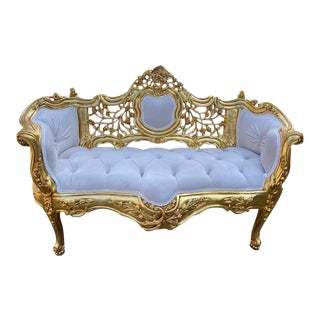 French Louis XVI Style Sofa in Ivory Color Velvet For Sale