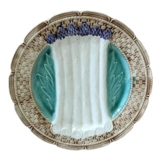 1920 French Majolica Asparagus Orchies Plate For Sale