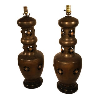 Patinated Brass Lamps - A Pair