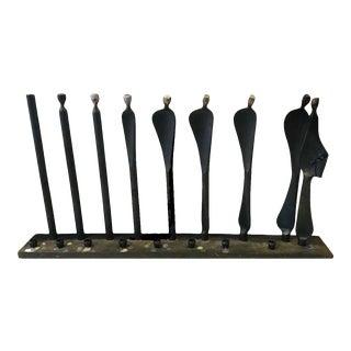 "Early 20th Century Original Modernist Boris Kramer Abstract Black Steel Art Sculpture Menorah ""Emergence"" For Sale"