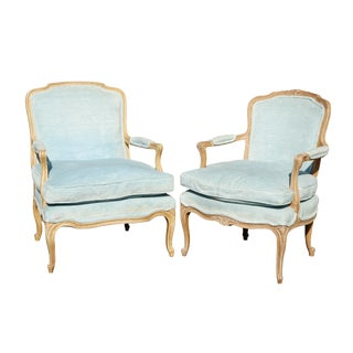 His & Hers French Style Armchairs in Blue For Sale