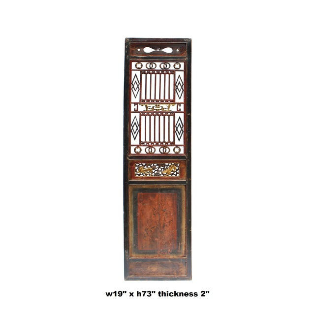 Chinese Gold Red Brown Graphic Carving Wood Decor Panel For Sale In San Francisco - Image 6 of 7