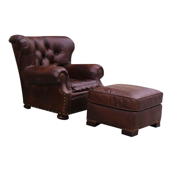 Restoration Hardware Churchill Chair & Ottoman - Image 1 of 9