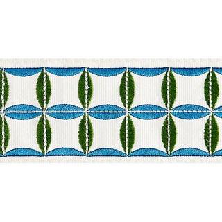 Sample, Scalamandre Fiori Embroidered Tape, Peacock For Sale