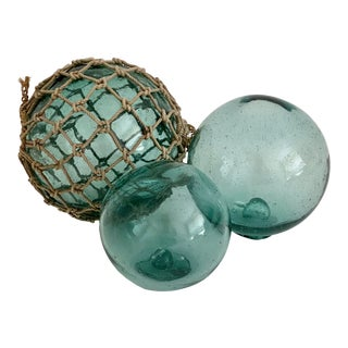 Vintage Japanese Glass Fishing Floats - Set of 3 For Sale