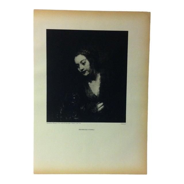 "Vintage Black & White Print of a Rembrandt Painting, ""Hendrickje Stoffels"" For Sale"